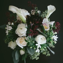 Small Floral Arrangement in White and Burgundy