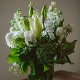 Fresh Floral Mason Jar Arrangement in White Designed in Pasadena by Brad Larsen Florals