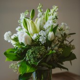 White Mason Jar Arrangement